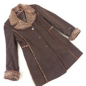 Vintage Brown Wool Faux Shearling Coat